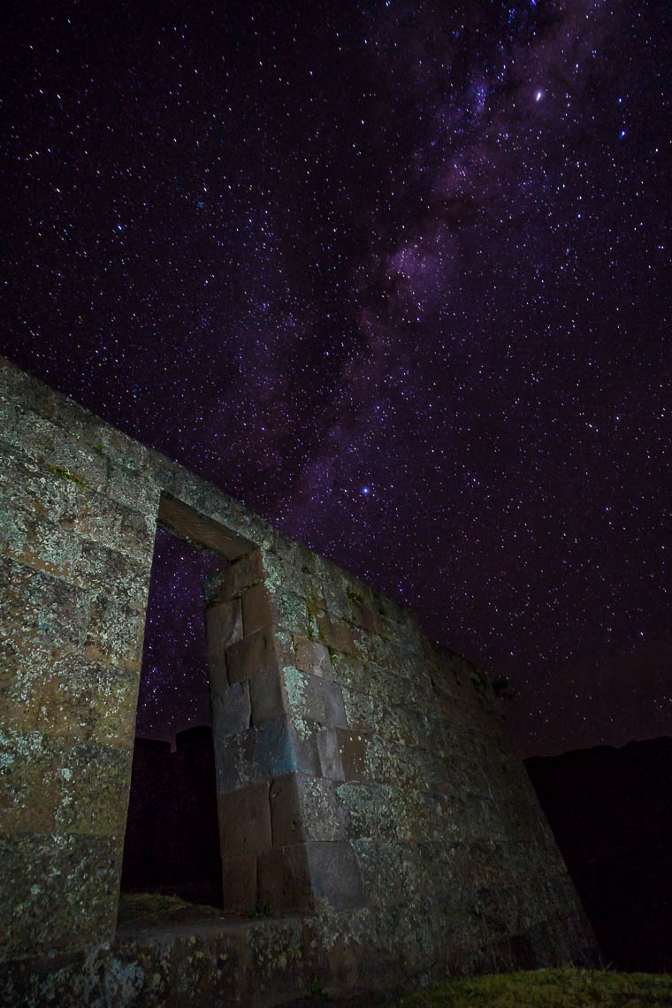 Milky Way over Pisac Ruins