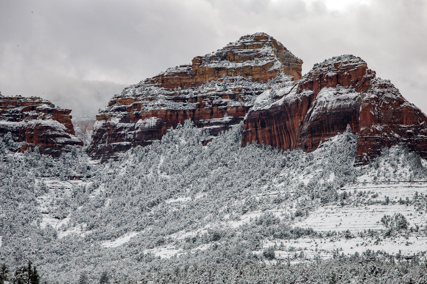 Red Rocks, White Snow