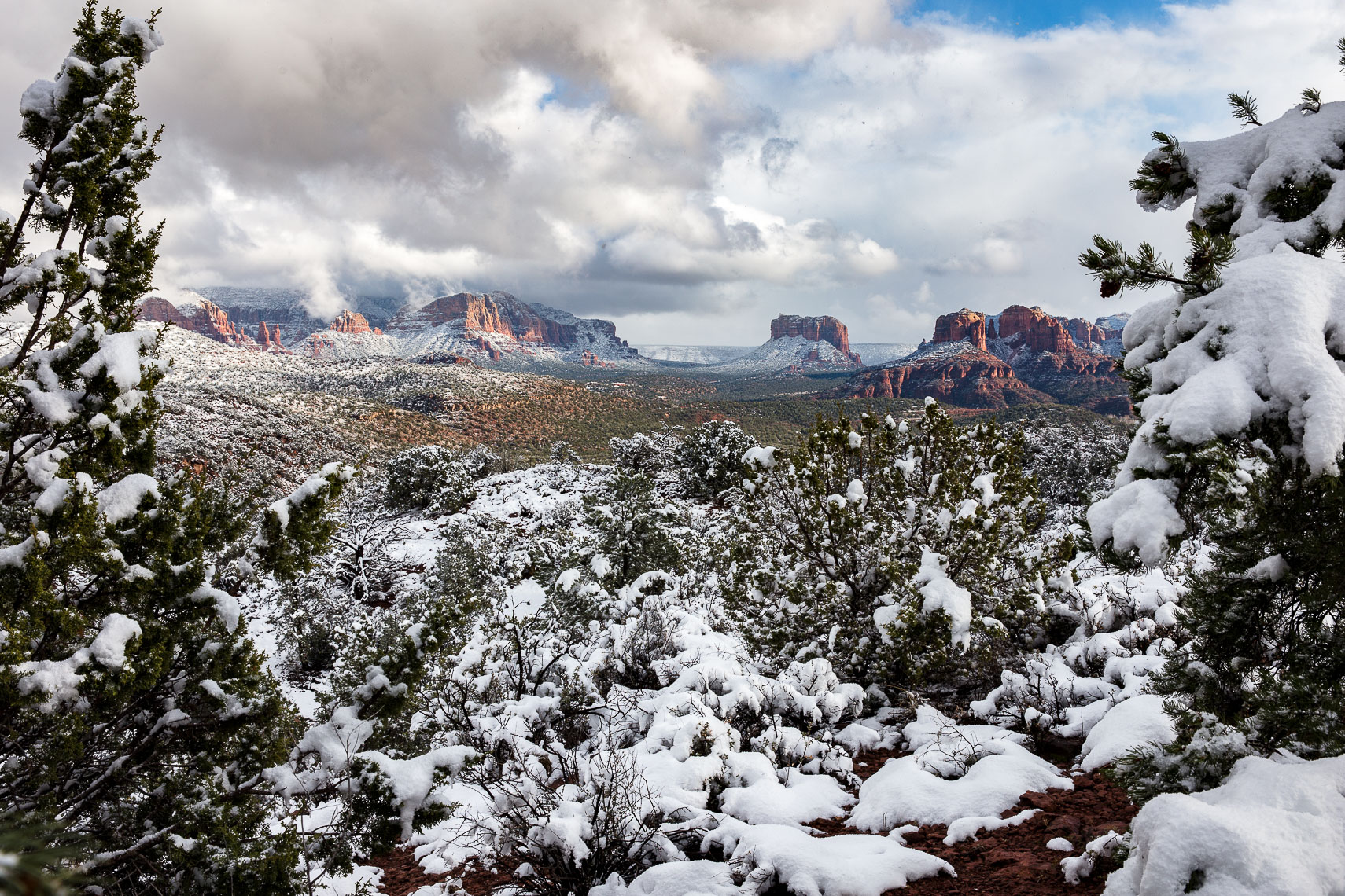Snow over Sedona from Lovers Point