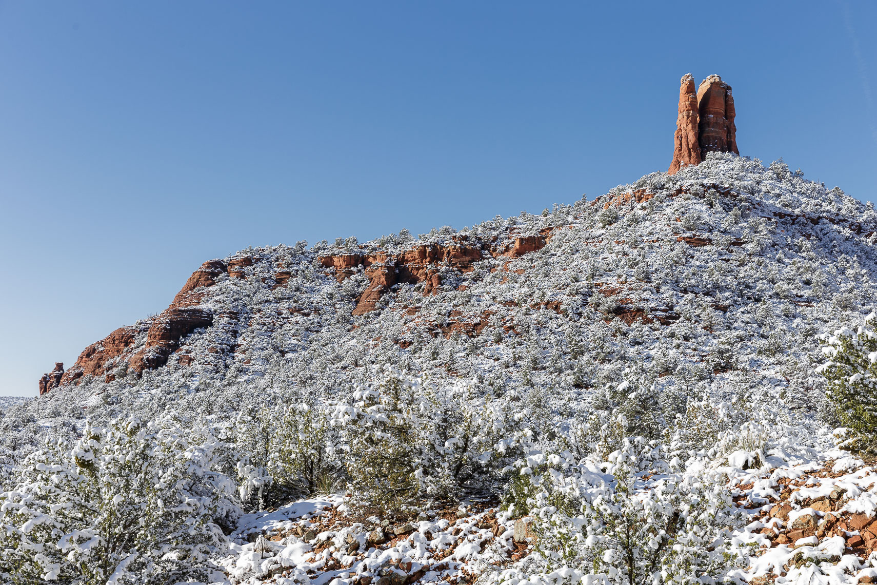 Chimney Rock over Snow